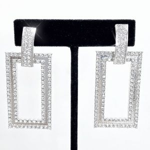 Geometric Rhinestone Prom Pageant Bridal Earrings